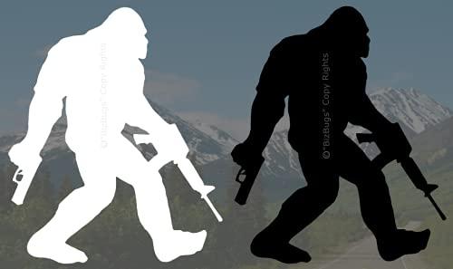 "(2 Pack) Bigfoot Guns Decal Carrying AR/NRA Guns Decal Vinyl Sticker Perfect Size 5.5"" H x 4.2"" W (1) White & (1) Black, Sasquatch Funny Sticker for Cars Trucks Vans Walls Laptop + (1) Golden Bigfoot decal BizBugs"