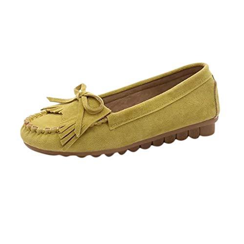 Sillor Elegant Erbsenschuhe Damen Wild Flache Bootsschuhe Mode Bow Quaste Einzelne Schuhe Casual Bequem Einfarbig Wildleder Slip-On Loafers