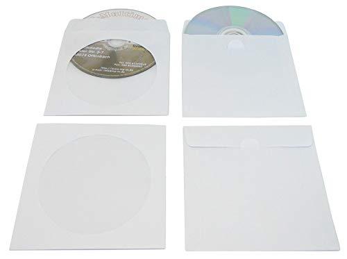 1000 CD Hüllen aus Papier mit Fenster, CD Papierhüllen Weiß mit Folienfenster Glasklar und Klappe