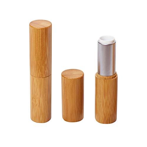 Vosarea 2PCS Lippenstift Behälter Leer Bambus Nachfüllbar Lippenstift DIY Basteln (Silber)