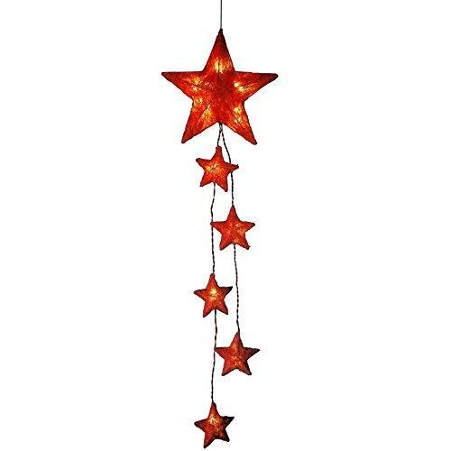 1a-Handelsagentur Sisalsterne Lichterkette 15 LEDs Beleuchtung Dekoration Deko Weihnachtsstern (rot)
