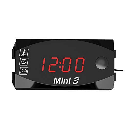 Misis Voltímetro Digital del Coche 12V Reloj Termómetro Voltímetro 3 En 1 Medidor De Voltio A Prueba De Agua para La Motocicleta del Coche opportune