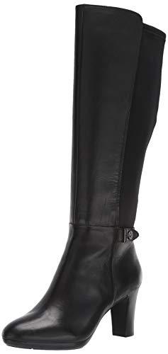 Anne Klein Womens Silence Leather Tall Knee-High Boots Black 7 Medium (B,M)