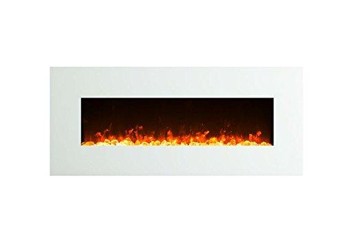GLOW FIRE Venus Elektrokamin mit Heizung, Wandkamin mit LED | Künstliches Feuer mit zuschaltbarem Heizlüfter: 750/1500 W | Fernbedienung, 126 cm, Weiß, Kristalldekoration