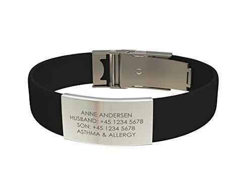 Djuva ID Armband (Modell Beat Trim) - Personalisierte ID, größenverstellbares Identifikationsarmband, ID Armband und Sport ID (Schwarz)