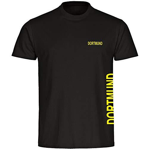 Multifanshop Kinder T-Shirt Dortmund seitlich - Schriftzug auf der Brust und auf der Seite - schwarz - Größe 92 bis 176 - Fußball Fanartikel Fanshop,Farbe:schwarz,Größe:164