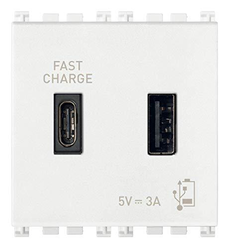 Vimar 19295.AC.B Arké USB-Steckdose 5 V 3 A, 1 USB-Ausgang Typ A und 1 Typ C, insgesamt 3 A zum Aufladen eines Geräts bis zu 3 A oder gleichzeitig zwei Geräte