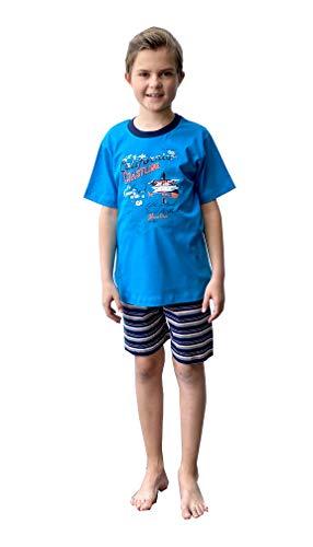 Jungen Shorty Pyjama Kurzarm Schlafanzug, Hose gestreift - 102 505 10 801, Farbe:türkis, Größe:158/164