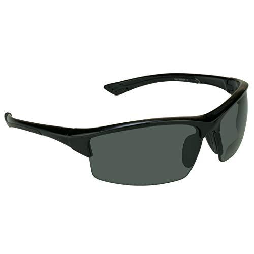 proSPORT Polarized Bifocal Sunglasses +1.50 Grey Lens Black Frame Men and Women Zipper Hard case and Sunglass Retainer Included