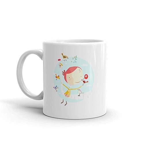 Dozili Grappige koffiemok - Cartoon van een meisje zittend op boom met vogels en vogelhuisje Ik hou van wandelen keramische koffiemok beker, 11 Oz, wit