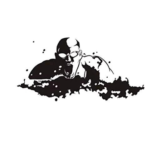 WERWN Etiqueta engomada de la natación Etiqueta engomada de la natación de la decoración de la Pared de la Pared del Vinilo de la natación del Nombre del Logotipo de la natación