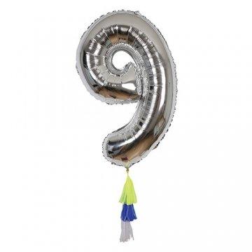 Ballon chiffre 9 avec pompons - Meri Meri