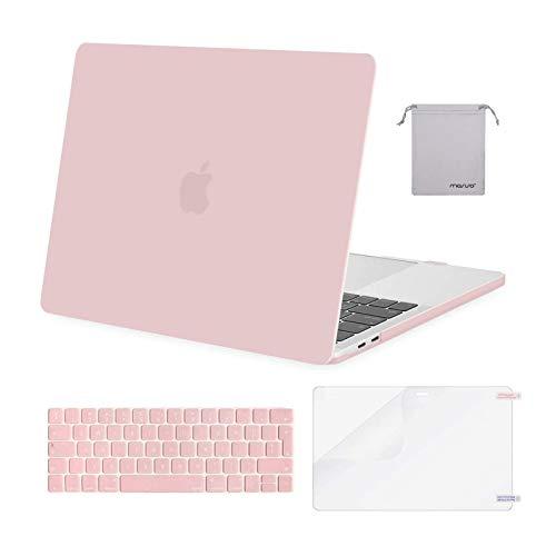 MOSISO Case Compatibile con MacBook PRO 13 Pollici 2020-2016 M1 A2338/A2289/A2251/A2159/A1989/A1706/A1708, Plastica Rigida Cover&Tastiera Cover&Proteggi Schermo&Piccola Custodia, Quarzo Rosa