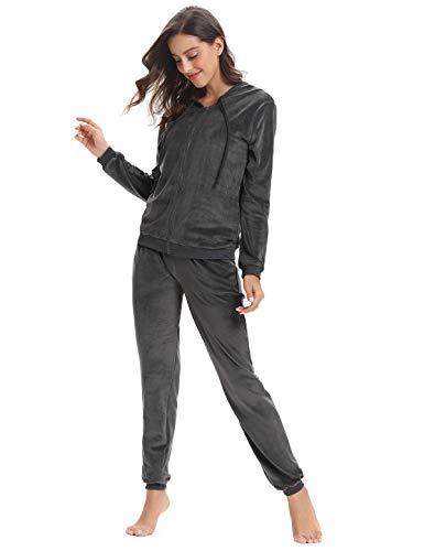 Aibrou Survêtement Femme 2 Pièce Sweat Zippé à Capuche + Pantalon Jogging Solide Ensembles Sportswear Tenue D'intérieur pour Sports Casual, Gris, S