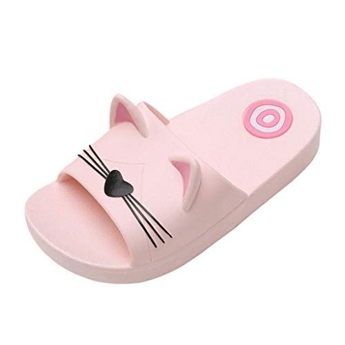 Baby Girls Boys Kids Home Slippers Slides for 4-12 Years Old Child Cartoon Cat Floor Family Shoes Beach Sandals (7-8 Years Old, Pink)