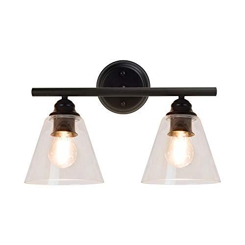 Depuley Lámpara de pared negra con 2 focos, de metal y cristal, lámpara LED de espejo en diseño retro/vintage, lámpara de pared de baño, casquillo E27 para salón, dormitorio (sin bombilla)