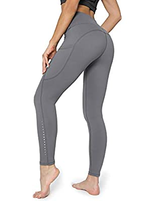 POSHDIVAH Ultra Soft Yoga Pants for Women High Waited Tummy Control Workout Leggings with Pockets Grey M