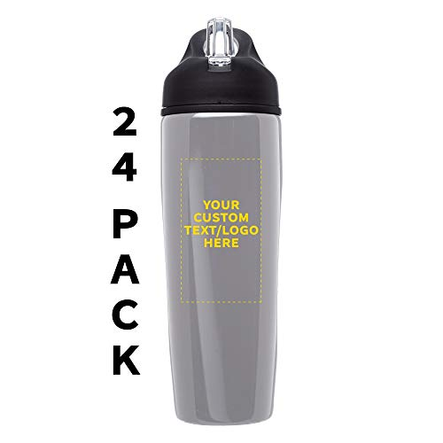 Custom Stainless Steel Water Bottle, 24 pack, Personalized Text, Logo, 28.5 oz Metal Sports Bottles with Flip Top, Easy Carrying, Silver