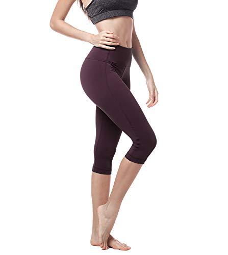 LAPASA Damen Capri Leggings 3/4 Sport Yoga Pants, 1 bis 2er Pack, High Wasit, MEHRWEG L002 (Dunkel Weinrot(Super Opak), S (letzter Abbildung zufolge))