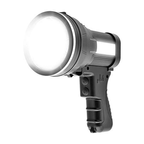 LASCOTON Rechargeable Spotlight, 6000 Lumens Brightest LED Spotlight 9600mAh Long Lasting Handheld Spotlight Flashlight Portable Searchlight with USB Output Function IPX4 Waterproof