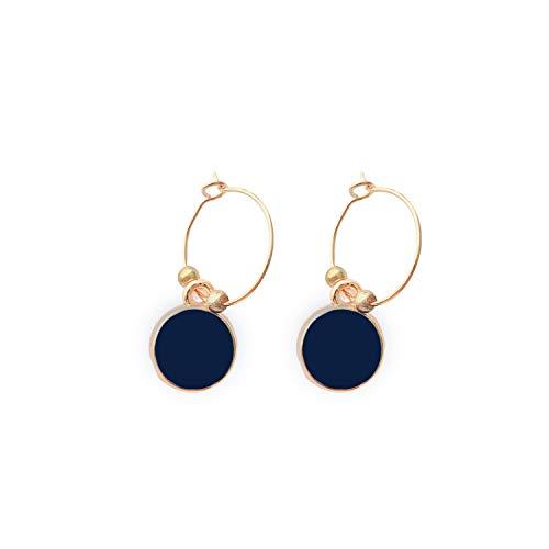 Oval Bijouterie Earrings - Enamel Earrings with Box (8 Pieces) Navy Blue