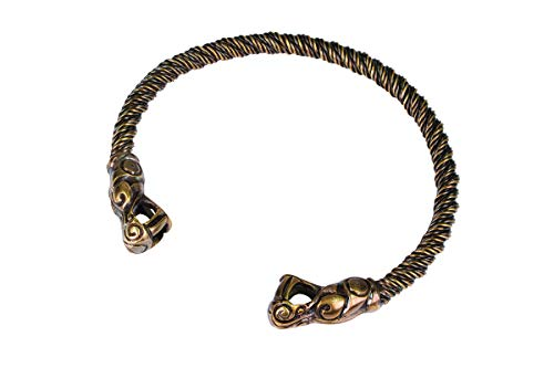 Windlass Hand Crafted Viking Dragon Neck Torc Heavy Spiral Braid for Men & Women Strong Flexible with Dragon Terminals (Antique Silver)