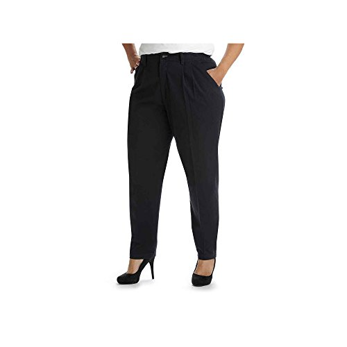 Lee Women's Plus-Size Relaxed Fit Side Elastic Pant, Navy, 18W Petite