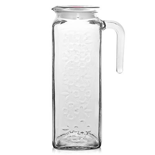 ORION GROUP Glaskaraffe Glas Karaffe 1,2 L mit Deckel und Auslauf für hausgemachte Getränke Eistee Milch Kaffee Wein
