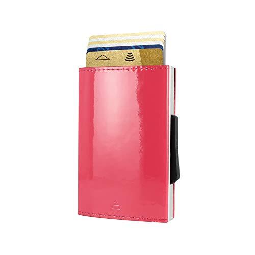 Ögon Smart Wallets - Cascade Slim Wallet - Cartera automática de Aluminio y Piel - Tarjetero RFID antirrobo - 8 Tarjetas y Billetes - Cuero Glossy Raspberry/Aluminio Plata