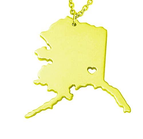 Kkoqmw Collar con Mapa Collar con Colgante de Mapa de Alaska de Acero Inoxidable de Color Dorado y Plateado