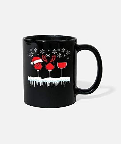 N\A Navidad Vino Tinto Navidad Camisa de Navidad Taza de cerámica Novedad Divertida Taza de café Mejor Idea de Navidad año Nuevo Vacaciones para Familiares Amigos compañeros de Trabajo