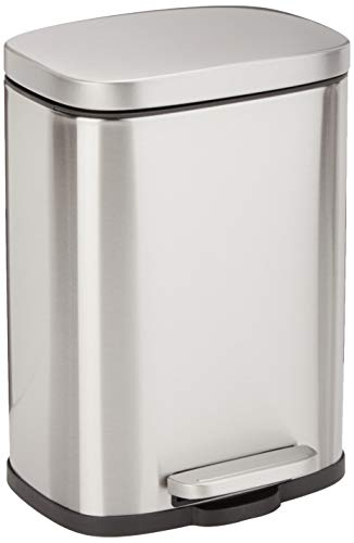 AmazonBasics Trash Can, Plata, 5L