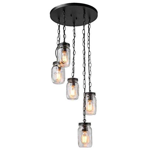 Mason pot van glas, hanglamp, plafondlamp, 3 lampen en 5 lampen, metalen afwerking, zwart, voor eetkamer