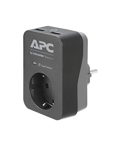 APC Surge Protector - PME1WU2B-GR - Steckdosenadapter mit Überspannungsschutz (1 Stecker Schuko, 2 USB-Ladeausgänge, schwarz)