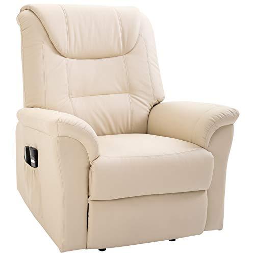 HOMCOM Massagesessel Massagestuhl Wärmefunktion und Massage USB Fernbedienung PU Cremeweiß 100 x 93 x 105 cm