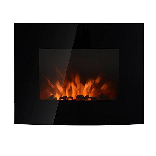 HOMCOM Chimenea Eléctrica Tipo Estufa de Pared con Efecto Llamas Atmosféricas y Luz LED de 7 Colores con Mando A Distancia 1000W/2000W 89,2x13,5x48cm