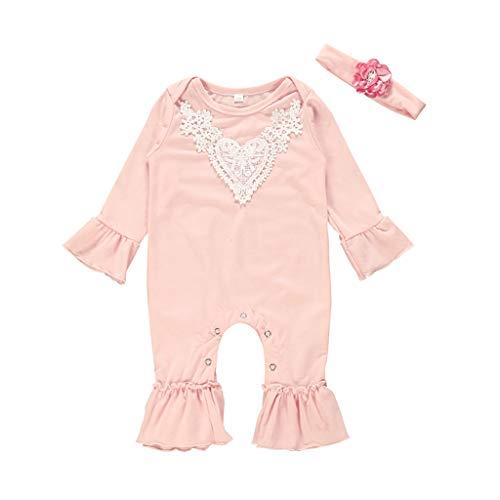 Allence - Body de manga larga para bebé, diseño floral con volantes y cinta para el pelo Rosa. 100 cm