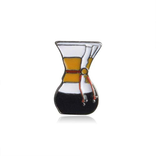 TTZY Delicate Coffee Series Badges Shape Hand-Punch Pot Coffee And filter Cup Chemex Brooch Fashion Jewelry Wholesale,XZ016-3