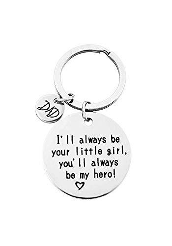 QICI Schlüsselanhänger Geschenk der Tochter an Papa - Ich werde Immer Dein kleines Mädchen Sein, du wirst Immer Mein Held Sein, Schlüsselanhänger aus Edelstahl (1)