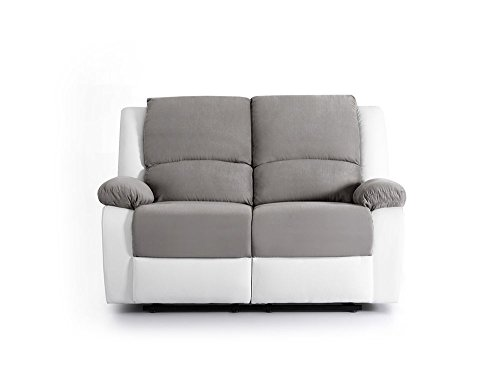 Canapé droit 2 places Blanc Microfibre Relax