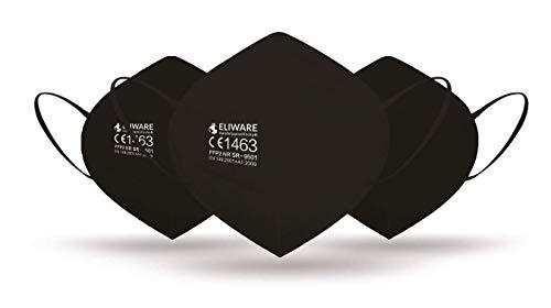 CE zertifizierte - nach EN149:2001+A1:2009 geprüfte Einweg FFP2 NR Atemschutzmaske - Schwarz - 5er Packung