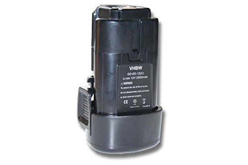 vhbw Li-Ion Akku 2000mAh (12V) für Werkzeug Black & Decker BDCDMT112, EGBL108, GKC108, LDX112, PSL12 wie BL1310, BL1110, BL1510, LB12, LBXR12, LBX12.