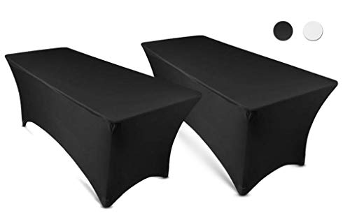 6ft Tablecloth Rectangular Spandex Linen - Black Table Cloth Fitted Cover for 6 Foot Folding Table, Wedding Linens Banquet Cloths Rectangle Covers (2 Pack)