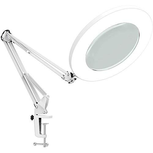 LED Lupenleuchte, Arbeitsplatzlampe, 5 Dioptrien Lupe mit Licht - mit Klemme, Schwenkarm,Dimmbar,3 Farbmodi, 105-mm Glaslinse - Lupe zum Lesen, Basteln - 5-fache Vergrößerung für Inspektion,Reparatur