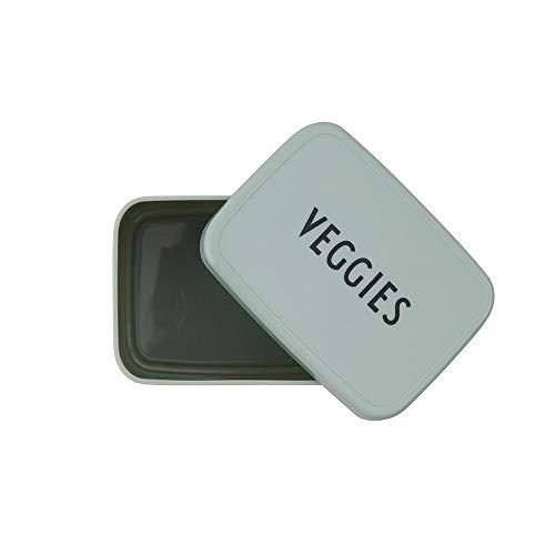 Design Letters Snack box für Brotdose (Grün) - BPA-frei, Erhältlich in modischen Farben, Ideal für Schule, Arbeit oder unterwegs, mikrowellen- und spülmaschinenfest, 37 g, L: 9,3 x H: 5,5 x B: 7cm