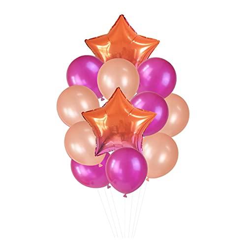Globo 12 unids/Set 18in '' Gradient Star Foil Ballon 12in '' Latex Ballons Penta Helium Globos Fiesta Boda Decoraciones de cumpleaños Globos de cumpleaños (Color : T07)