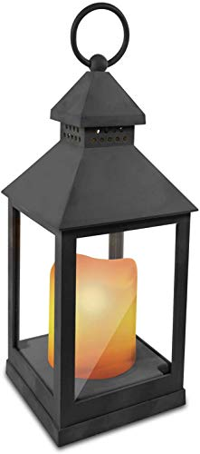 Eaxus® LED Windlicht mit realistischer Kerze - Laterne/Gartenlaterne für Drinnen und Draußen, Grau