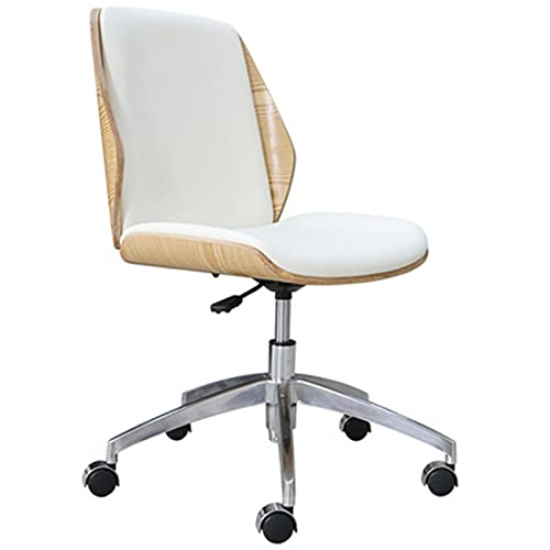 Office Chairs Office Chair, Modern Minimalist Solid Wood Leather Armless Computer Chair, Home Lift Swivel Chair Desk Chair, Simple and Elegant Conference Chair (Color : A)