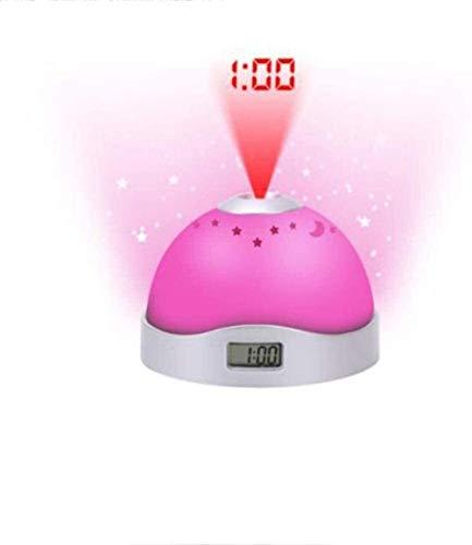 Creatieve eenvoudige moderne oogbescherming lamp Wekker Creatieve magie Kleurrijke projectie Wekker Nachtlampje Sky Star Light Wekker Projectie Nachtkastje Kinderen wekker LED 8.6cmX9.7cmX6