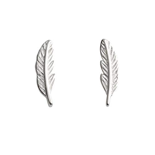 Amaer Genuine 925 Sterling Silver Tiny Feather Studs Earrings for Women Teen Girls